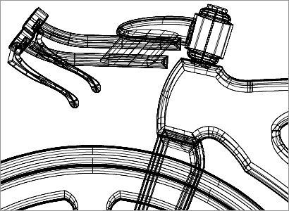 ハンドル部分のワイヤーフレーム