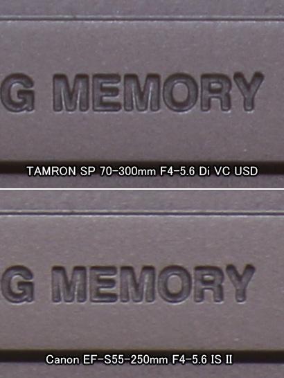 焦点距離250mmでの実寸大