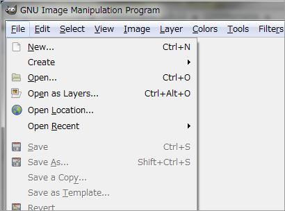 GIMPのメニュー画面(英語)