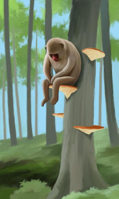 さるのこしかけに腰掛ける猿